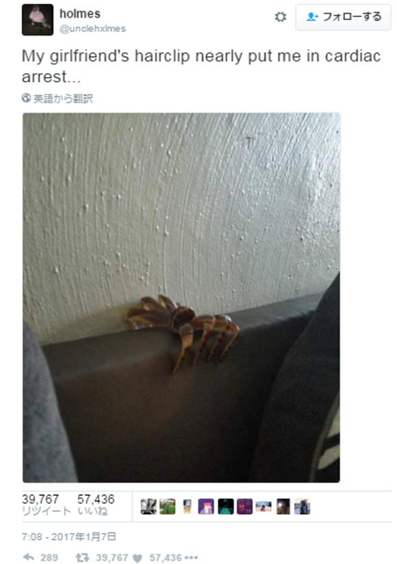 どう見てもクモなヘアクリップが激写される