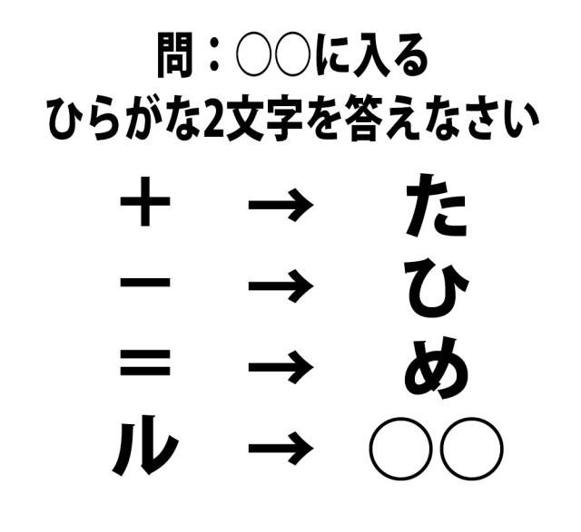 【頭の体操クイズ】○○に入るひらがな2文字を答えなさい