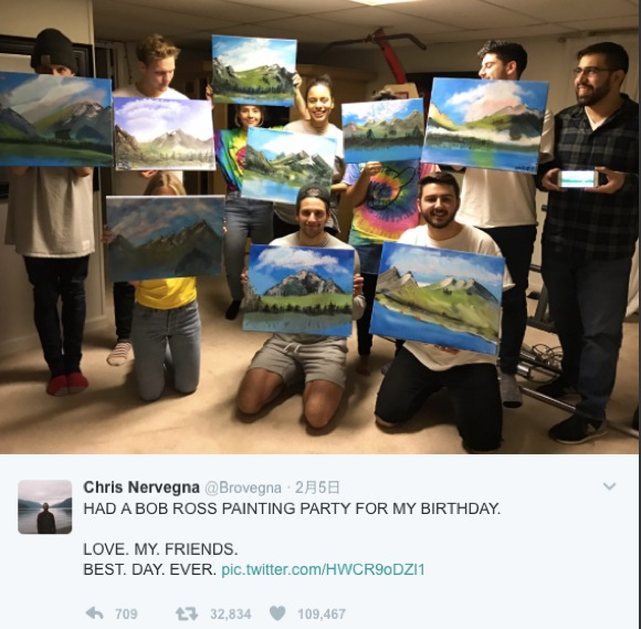 【ね、簡単でしょ?】自分のお誕生日会を『ボブの絵画教室』パーティーにしちゃった男性が話題