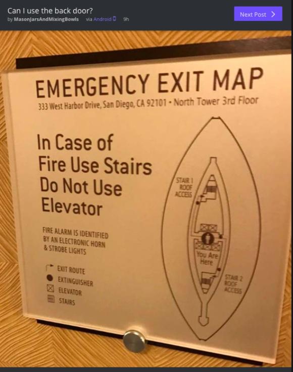 ミステリサークルか? 見れば見るほど謎が深まる「避難経路図」! 正しい向きさえ分からない……
