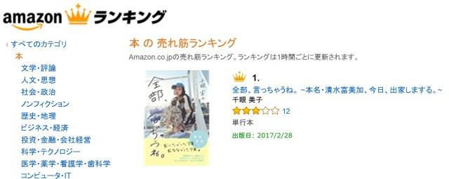【マジかよ】本日(2/17)発売の清水富美加さんの書籍『全部、言っちゃうね。』がAmazonで1位にッ!!
