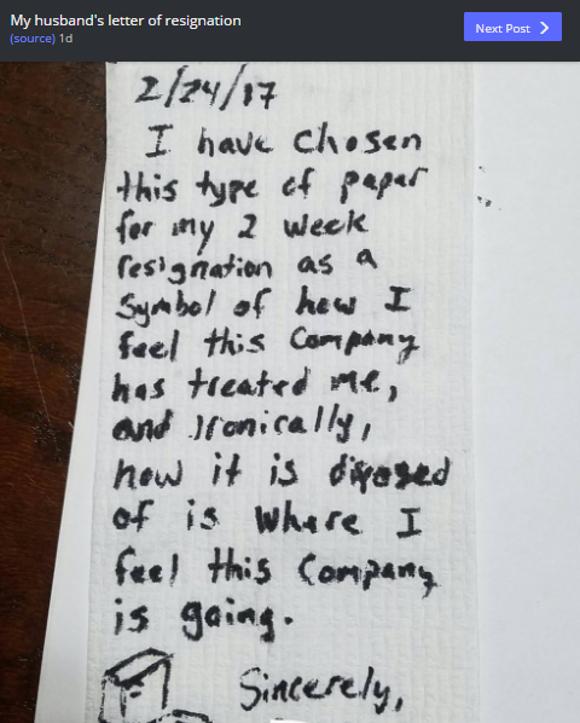 """【そう来たか】会社にブチ切れた男性が """"トイレットペーパー"""" に辞表を書いて話題"""