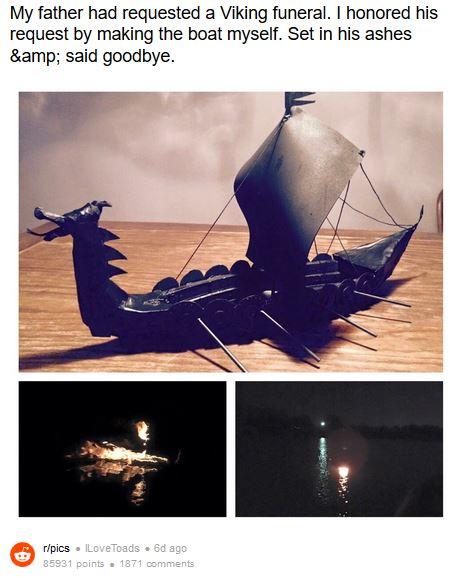 父親「ヴァイキング風のお葬式をしてほしい」と娘に遺言 → 手作りの船に込めた娘の想いが美しいと話題