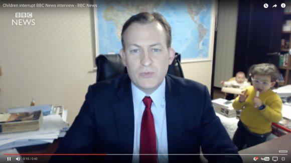 """【世界が爆笑】再生1570万回! BBCのシリアスなインタビュー中に """"可愛い刺客"""" が乱入する動画が話題"""