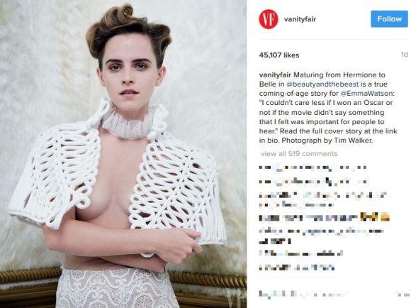 エマ・ワトソンの『乳首が見えそうなセミヌード写真』が物議に! ネットの声「自称フェミニストをうたっているのに……」など
