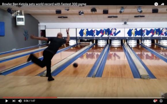 【神業ボウリング動画】約90秒で300点のパーフェクト達成! ロボットのような正確さでピンを倒していくプロボウラー