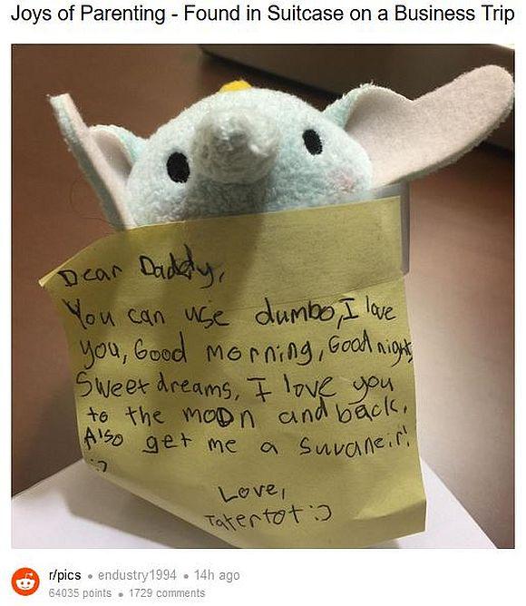 【ウルウル】出張に行ったパパの荷物に娘が忍び込ませたプレゼントが可愛すぎる~! こんなの貰ったら絶対泣いちゃうっていうレベル!!