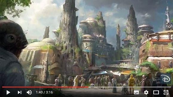 米ディズニーランドにオープンする「スター・ウォーズランド」の一部が動画で公開される /  来場者が映画の世界に参加できる構想