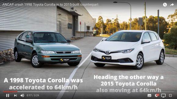【動画】1998年製と2015年製のトヨタカローラを衝突させるとこうなる
