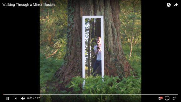 超能力? それとも魔術? 森の中の「鏡を通り抜ける男性」の動画が不思議すぎる