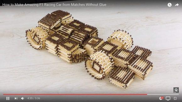 1700万再生を突破! マッチ棒だけで「F1マシンのモデルカー」を作り上げる動画が芸術的だと大人気!!