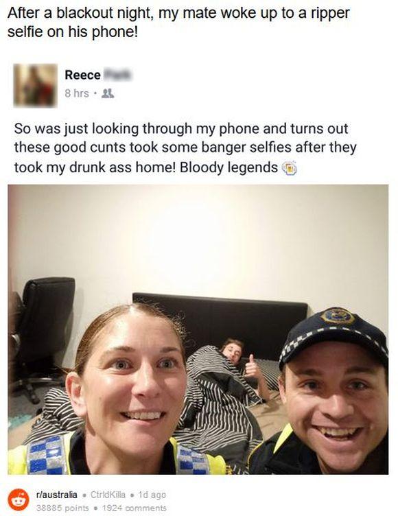 泥酔から目覚めた男性のスマホに「自分の寝室にいる警官の自撮り写真」が! 親切な警官のおかげで帰宅できていた件