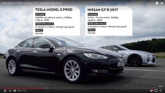 【爆速対決】ガソリン車「日産GT−R」と電気自動車「テスラ モデルS」でドラッグレースをやったらこうなった