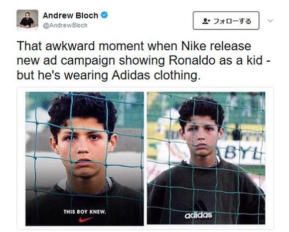 クリスティアーノ・ロナウドがツイートした写真に致命的なミスが発覚 / NIKEの写真に「adidasだろ!」とネット民からツッコミの嵐