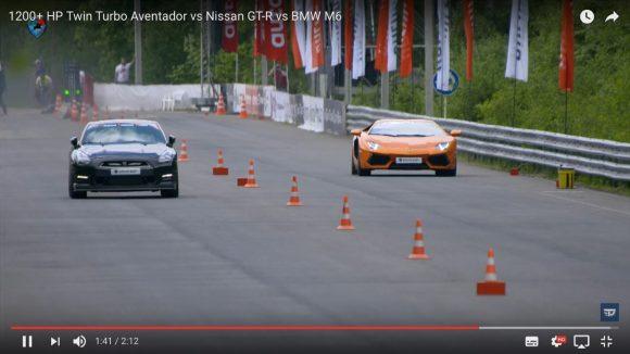 【爆速】1200馬力にチューンアップされたスーパーカーが対決「ランボルギーニ vs GT-R」