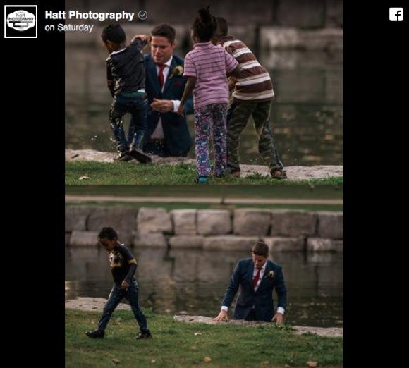 【こんなん惚れ直すわ!】 スーツ姿で池に飛び込み溺れる子供を救った新郎がカッコ良すぎ