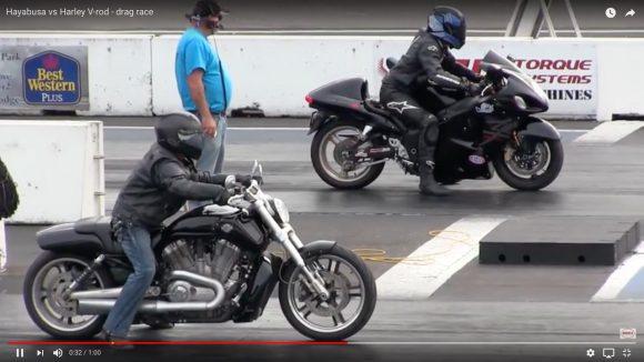 有名バイク対決「ハーレー vs ハヤブサ」はどちらが速いのか