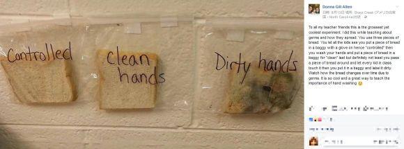 必ず食事前に手を洗おう…と思わずにはいられない実験結果がコレだ!