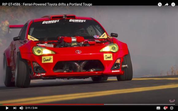 【魔改造】トヨタ86にフェラーリのエンジンを積んだ「GT 4586」が公道を爆走! 大迫力のドリフト映像がこれだ!!