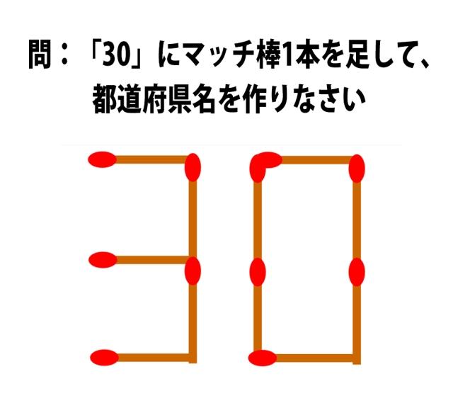 【頭の体操クイズ】「30」にマッチ棒1本を足して、都道府県名を作りなさい
