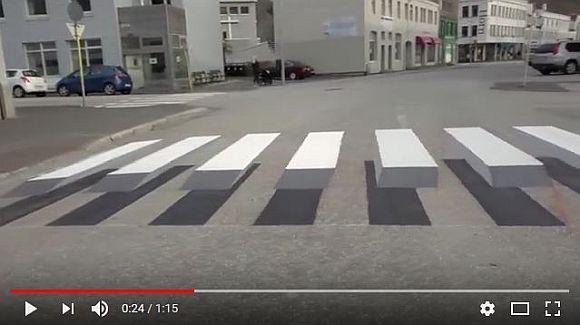 アイスランドで導入された「3Dの飛び出す横断歩道」が画期的! これなら交通事故も激減しそう!!