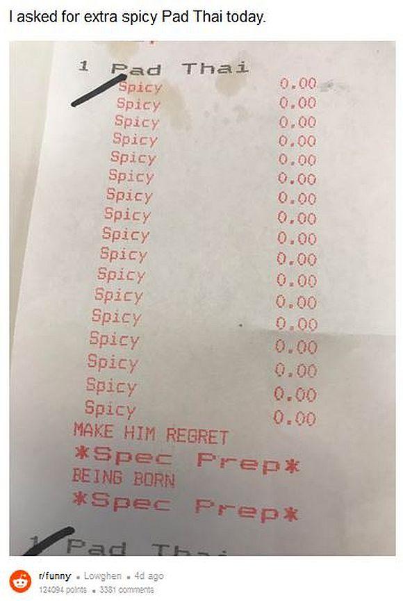 辛さを求める男がタイ料理店で「エクストラ・スパイシー」を注文したら予想外の展開に…! レシートには「生まれてきたことを後悔させろ」との言葉が