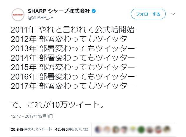 10万ツイートを達成した「シャープ」公式ツイッターから漂う哀愁がハンパない
