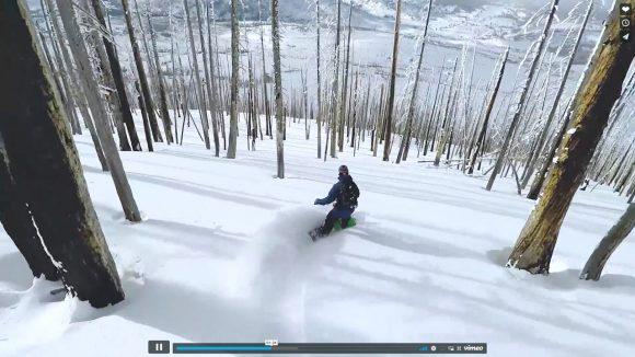 全画面&イヤホン推奨! ドビュッシーの『月の光』をBGMにスノーボードで滑る動画が美しい