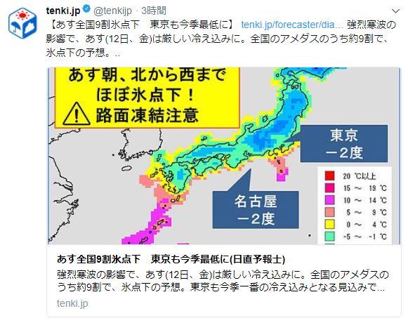 【極寒】明日1/12は余裕をこいていた関東民に天罰がくだる模様 / ついに東京も氷点下に突入か?