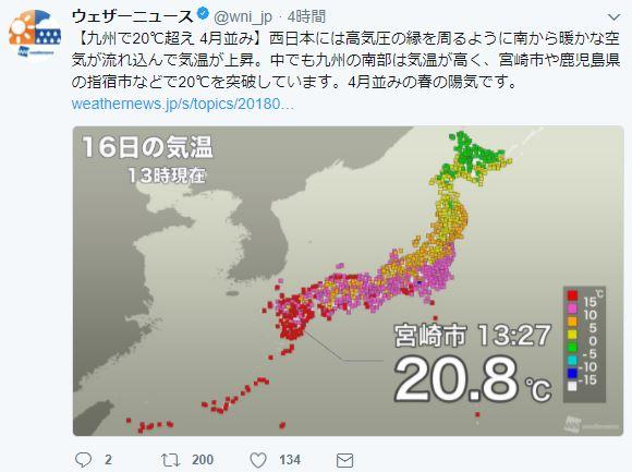 【外道】地球氏、4月並みの春の陽気で日本国民にドッキリを仕掛けていた / 来週はまさかの雪の可能性あり