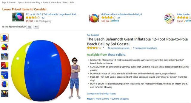 まるで短編コメディ! 米Amazonの超巨大ビーチボールに関するレビューが「最高におもしろすぎる」と話題 / 4000人以上が「参考になった」と回答