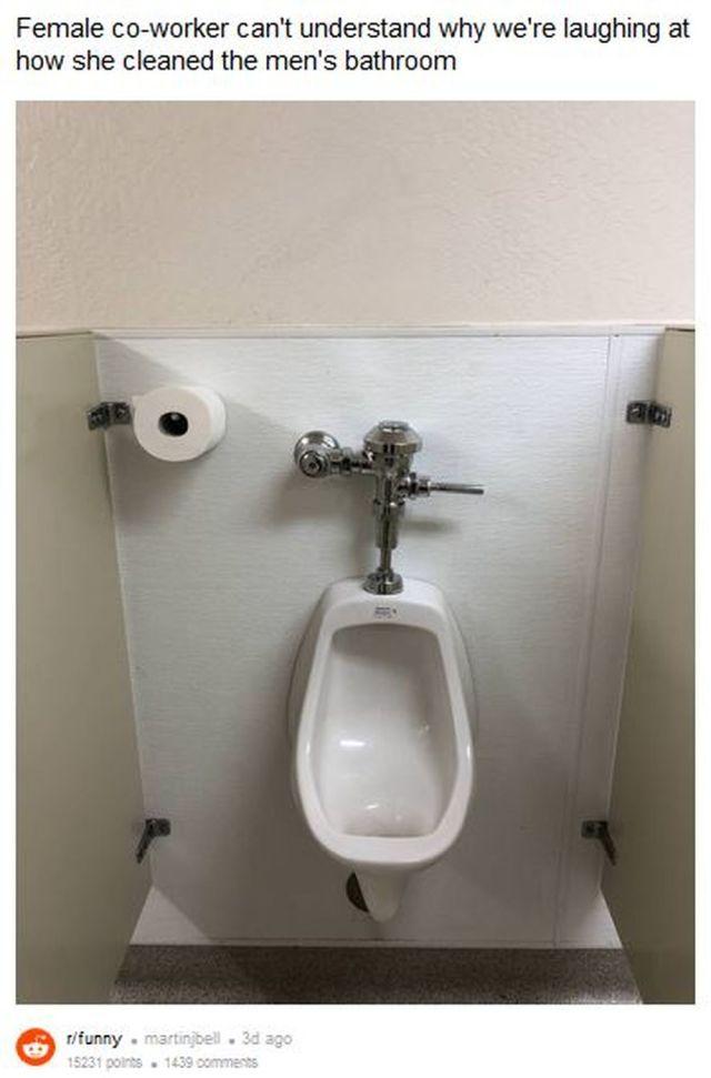 ネットに投稿された「男子トイレの写真」に男性が爆笑! → 何がオモシロいのか女性は困惑 → その理由が分かる!?