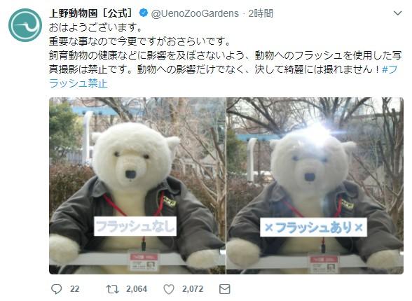 上野動物園が「写真撮影の時フラッシュをたかないで」と注意喚起 / 園内に『フラッシュ禁止』の看板が多数あるにもかかわらず散見される状況