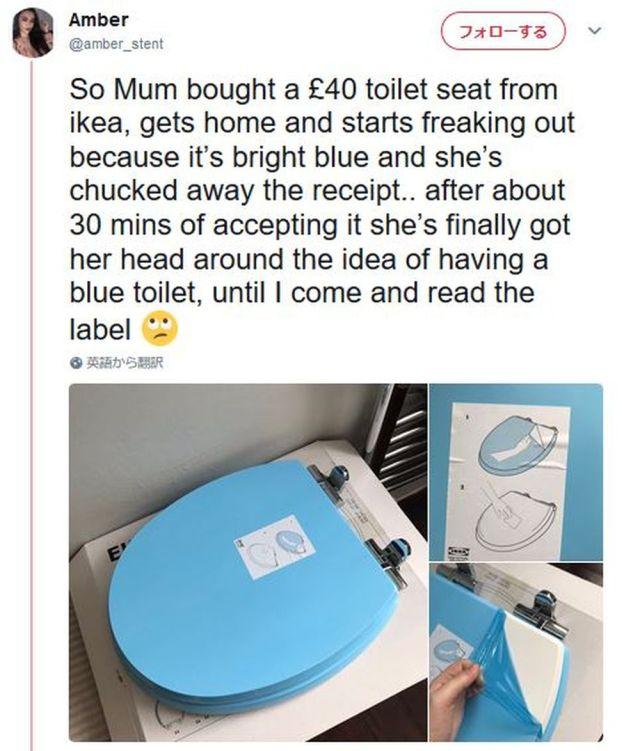 IKEAでトイレの蓋を買ったら水色でビックリ → 購入したママの天然すぎるエピソードがオモロいと海外で話題に