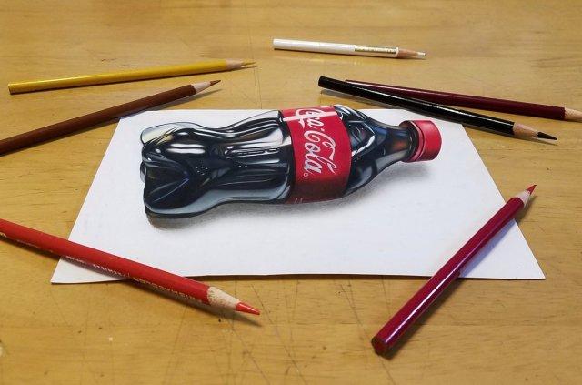 【驚愕】色鉛筆で描いたってマジかよ! 絵のコーラが立体的すぎてネット困惑「本物にしか見えない……」「どこまでが絵なのでしょうか?」