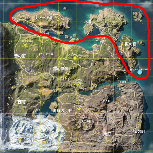 【荒野行動 -観光案内-】新マップ「嵐の半島」の北部を案内 ~リゾート地・北港・東の島・石油プラットフォーム~