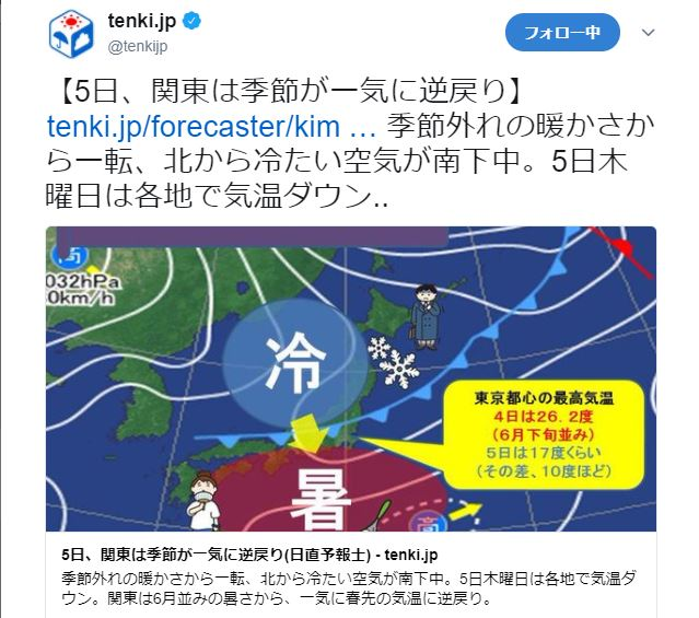 【注意喚起】明日4月5日、関東の気温は10度近くも下がる模様! 今日のノリで外に出たら後悔するぞ!!
