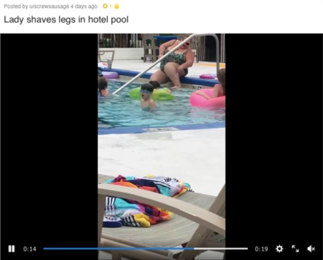 ホテルのプールで堂々とムダ毛を剃るオバちゃんが激撮される…ネットの声「毛がボーボーの方がマシだ」