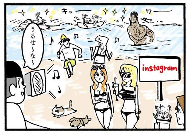 【イラスト】「SNS海水浴場」が的を得すぎていると話題に / インスタ、Facebook、Twitterの違いとは?