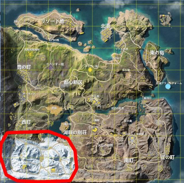 【荒野行動 -観光案内-】新マップ「嵐の半島」の南西部を案内 ~嵐基地・古城~