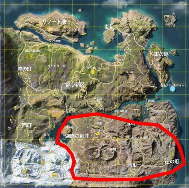 【荒野行動 -観光案内-】新マップ「嵐の半島」の南東部を案内 ~火山の谷地・デパート・廃駅・ロケット発射場など~