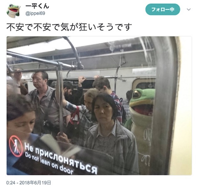 【W杯悲報】愛媛のゆるキャラ「カエルの一平くん」がロシアで完全に不審者状態