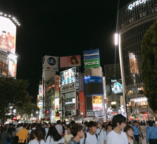 【W杯2018】サッカー日本代表、決勝トーナメント進出決定! その直後の東京・渋谷駅前交差点の様子