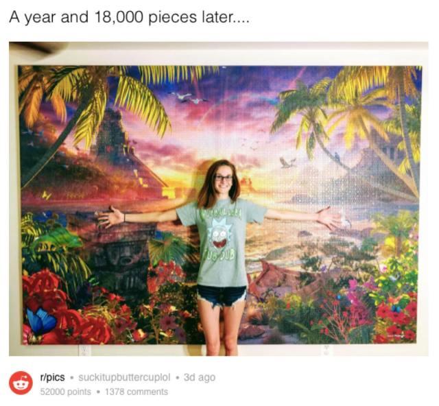 1年かけて1万8000ピースの巨大パズルを完成させた! → 写真を公開したらネット民に「1ピース足りませんよね」と見抜かれる