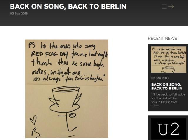 【鉄人】世界的ロックバンド「U2」のボノ、ライブ中に声が出なくなるも翌日 → ツアー続行「声は完全に回復するだろう」
