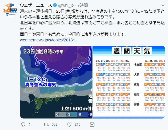 【悲報】冬将軍、本気出すってよ / 週末3連休から今季一番の寒さ