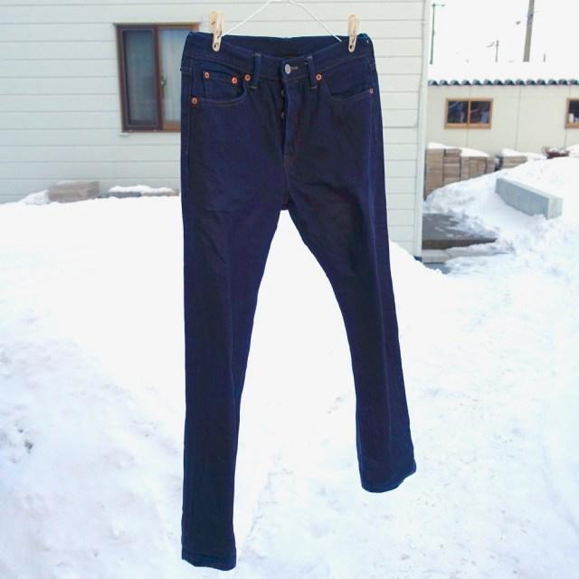 真冬の北海道で濡れたジーンズを干すとスゴいことになる