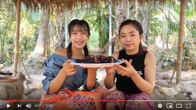 カンボジア美女ユーチューバー2人組の「黙々とタランチュラを料理 → ビールと一緒に食べる動画」が想像以上の素晴らしさ! タランチュラもマジ美味そう!!