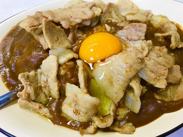【横浜】ガッツリ過ぎる「スタミナカレー」は1度食べたらヤミツキ必至! 生姜焼きと卵がドーンと乗って激烈ウマい!