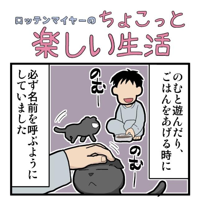 【4コマ】第24回「猫に名前を覚えさせる方法」ロッテンマイヤーのちょこっと楽しい生活